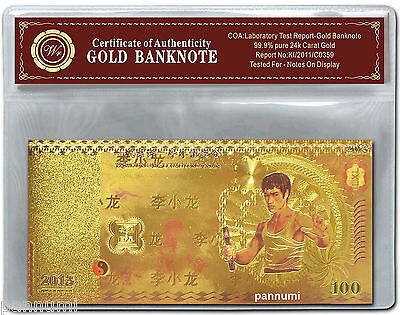 "Colourised BRUCE LEE 100 24K Gold Plated Banknote With  ""COA"" (n16c)"