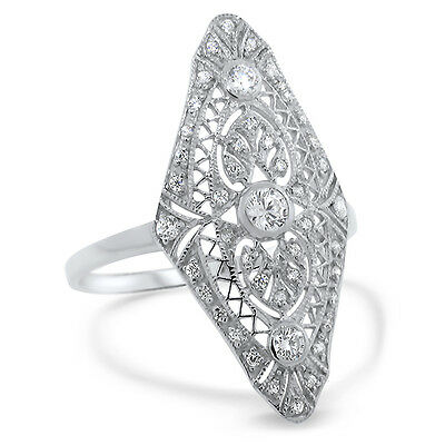 Art Deco Antique Style .925 Sterling Silver Cz Ring Size 8,                 #572