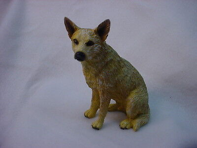 AUSTRALIAN CATTLE DOG FIGURINE Red Heeler dog HAND PAINTED Resin Statue Puppy