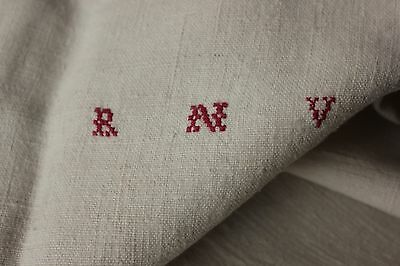 Antique French linen monogram hand tea kitchen towel primitive RNV mono