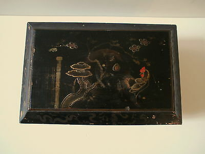 Antique CHinese Handpainted Rooster in Moonlit Garden Lacquer Wood Tea Caddy Box