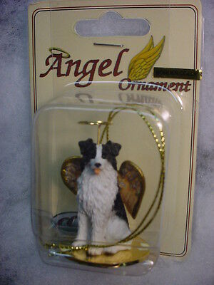 BORDER COLLIE dog ANGEL Ornament HANDPAINTED Figurine Statue NEW Christmas puppy