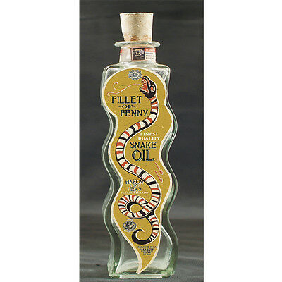 SNAKE OIL Glass Bottle with CORK STOPPER Fun fake medicine Alchemy Elixer Decor