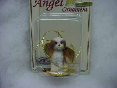SHIH TZU dog ANGEL Ornament Figurine PAINTED tan brown puppy sport cut Christmas