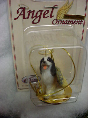 SPRINGER SPANIEL dog ANGEL Ornament Figurine NEW black white puppy Christmas