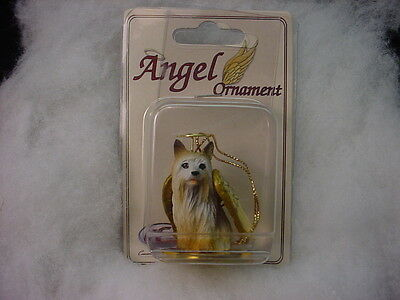 SILKY TERRIER dog ANGEL Ornament HAND PAINTED Resin Figurine Christmas puppy