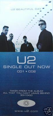 """U2 """"BEAUTIFUL DAY-SINGLE OUT NOW"""" AUSTRALIAN PROMO POSTER -Group Shot In Airport"""