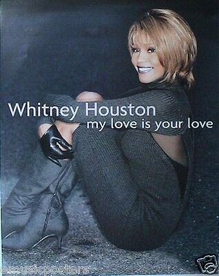 """WHITNEY HOUSTON """"MY LOVE IS YOUR LOVE"""" U.S. PROMO POSTER - On The Floor In Boots"""
