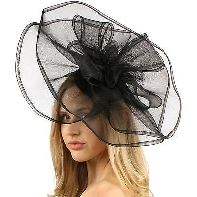 Big Sinamay & Organza Fascinators Headband Millinery Cocktail Derby Hat