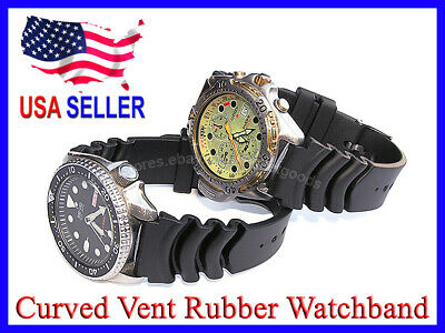 18mm 20mm 22mm Z22 Curved Vent Rubber Diver Scuba Diving Watch Band Strap Z20