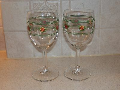 "Royal Albert Old Country Roses Pair Water Goblets Or Stems 7 1/8"" Excellent!"