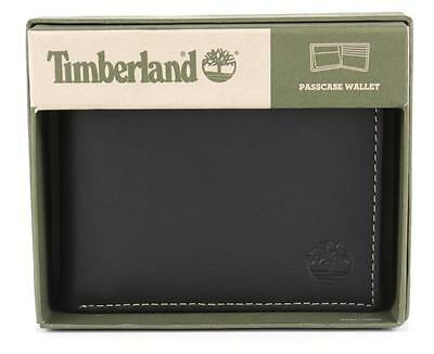 New Timberland Men's Premium Genuine Leather Passcase Wallet Black D77218/08