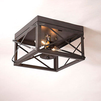 Primitive new kettle black tin double folded bar tin open ceiling light / nice