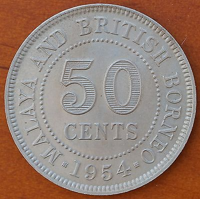 1954 Malaya & British Borneo 50 Cents KM# 4.1