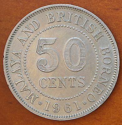1961 Malaya & British Borneo 50 Cents KM# 4.1