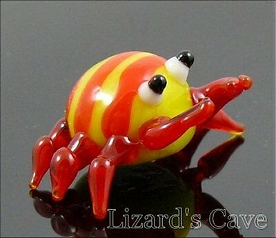 "Crab Miniature glass Figurine yellow body w/red legs approx 1"" across"