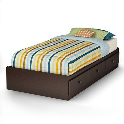 South Shore Zach Twin Mates Bed (39'') with 3 Drawers, Chocolate