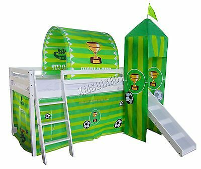 FoxHunter Wooden Mid Sleeper Cabin Bunk Bed Kids Tent Single 3FT Football Slide