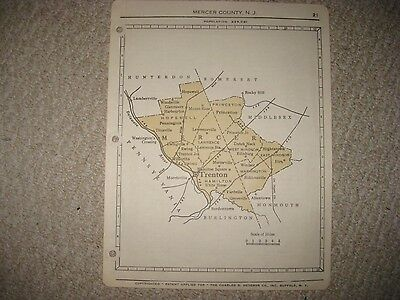 Antique 1950 Mercer County New Jersey Map Trenton Ewing Princeton Hamilton Nr