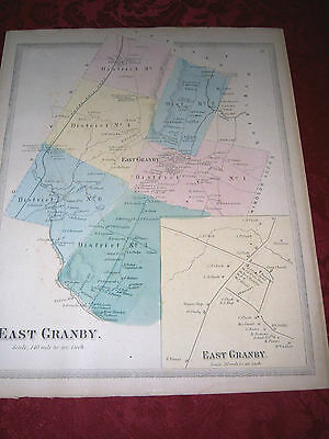 Original 1869 Map Of EAST GRANBY CT With Homeowners Listed
