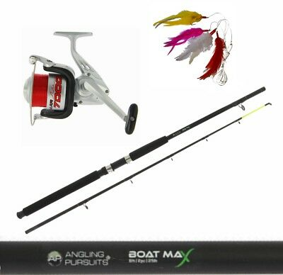 Boat Fishing Rod 6ft & Reel for Pier Boat Sea Fishing + Feathers + Lure