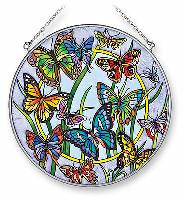 """Amia Stained Glass Suncatcher  6.5"""" Round Butterfly Dancing #41307"""