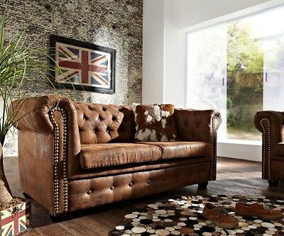 2-Sitzer Couch Chesterfield Braun 160x92 cm Antik Optik Sofa by DELIFE