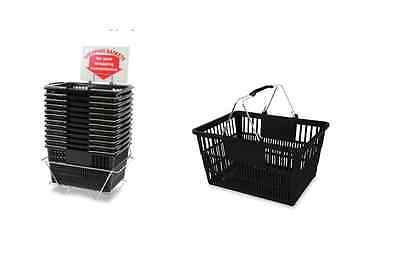 12 Standard Shopping Baskets - Chrome Handles - Metal Stand and Sign - Black