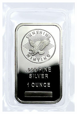 Sunshine Minting Inc. 1 Troy Ounce .999 Fine Silver Bar USA SKU27271
