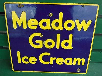 1930's Meadow Gold Ice Cream Porcelain Advertising Sign General Store Shop