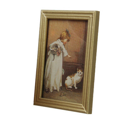 Dollhouse Miniature Framed Girl with Cat Kitten Painting Wall Picture Mural
