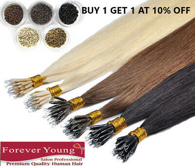 """16"""" 18"""" 20"""" 22"""" Nano Ring Tip Human Hair Extensions + Free Bead FOREVER YOUNG UK"""