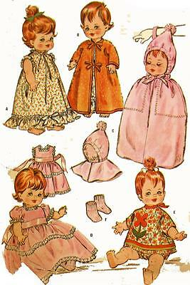 """Vtg Doll Clothing PATTERN 6993 for Baby Pebbles Tiny Chatty Baby Tiny Tubber 10"""""""