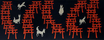 Tenugui Japanese Fabric Cotton Fushimi Inari Shrine Foxes and Torii Gates Motif