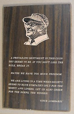 Vince Lombardi Wood Plaque (Maybe we have too much freedom) Green Bay Packers