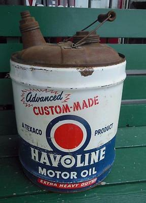 Vintage Texaco Havoline Motor Oil Can 5 Five Gallon Advertising Gas Station