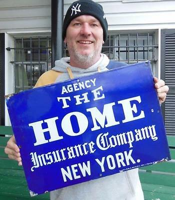 Antique Agency The Home Insurnace Company New York Porcelain Baltimore Sign