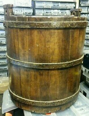 Pair Of Antique Oak Well Buckets With Cast Iron Rings & Carrying Handle - Coal