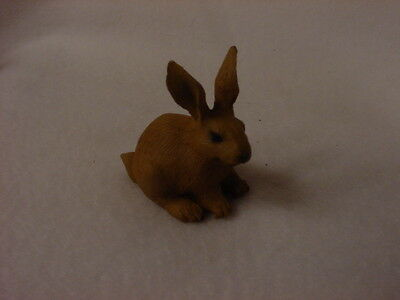 RABBIT Figurine TiNY ANIMAL brown bunny HAND PAINTED MINIATURE Collectible Farm