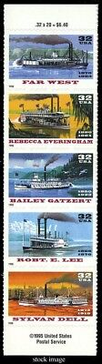 3095b, Special Die Cut Riverboats Strip of Five 32¢ Stamps - Stuart Katz