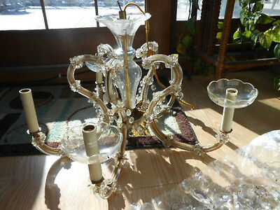 Antique Crystal Glass CHANDELIER 5 Clear Arms Multiple Prisms Project Piece