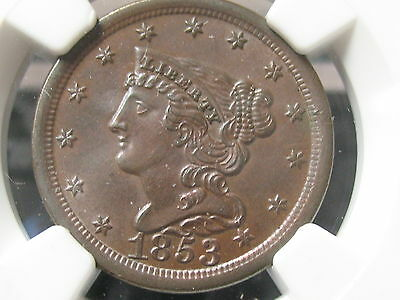 1853 Braided Hair Half Cent-Ngc Unc Details Grade-Free Shipping