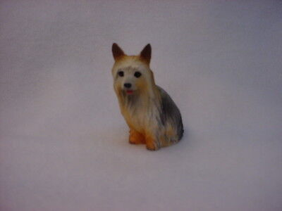 SILKY TERRIER dog FIGURINE puppy HAND PAINTED resin MINIATURE Small Mini Statue