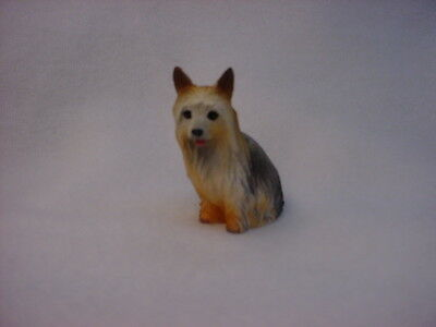 SILKY TERRIER dog TiNY FIGURINE puppy HAND PAINTED MINIATURE Resin Mini Statue
