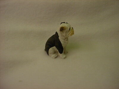 BULLDOG brindle white puppy TiNY DOG Figurine HAND PAINTED MINIATURE Statue NEW