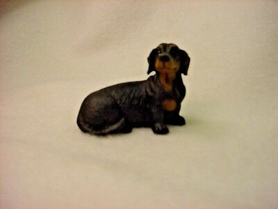 DACHSHUND black puppy TiNY DOG Figurine HAND PAINTED MINIATURE Statue MINI Doxie