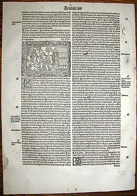 1515 - MOSES DESCENDS FROM SINAI TO TABERNACLE - post-incunable woodcutleaf