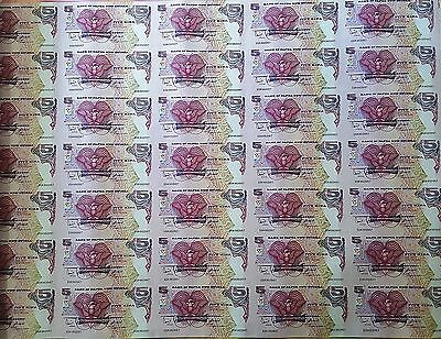 Papua New Guinea 5 Kina 2007 South Pacific Games Uncut Sheet of 35  Notes
