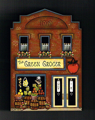 Brandywine Collectible Downtown Houses & Shops GREEN GROCER Grocery Shelf Sitter