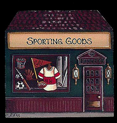 Brandywine Collectible Houses: SPORTING GOODS Shop - Wooden Shelf Sitter